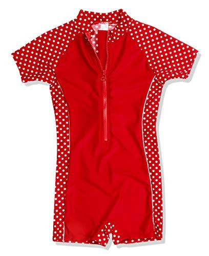 Playshoes Mädchen Bademode Einteiler, Badeanzug Punkte mit UV-Schutz, Rot (8 Rot ), 74/80