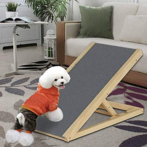 BRIEFNESS Hundetreppe Auto klappbar,ausziehbare Einstiegshilfe für Hunde, Hunderampe aus Tannenholz,Autorampe Anti-Rutsch Teppich,60 cm Höhe Rampe,belastbar bis 100 kg,Leichtes Design