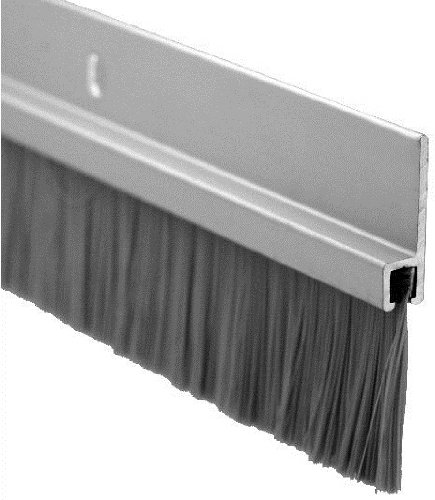 Pemko - 18100CNB36 Door Bottom Sweep, Clear Anodized Aluminum with 1' Gray Nylon Brush insert, 0.25'W x 1.875' H x 36' L