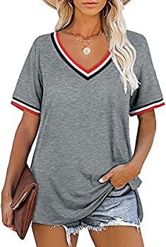 Womens Short Sleeve V Neck Plus Size Tops (various colors)