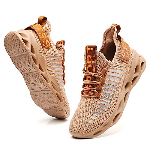 Ezkrwxn Sneakers for Men Athletic Tennis Walking Shoes Fashion Sport Running Shoes Brown Size 9.5