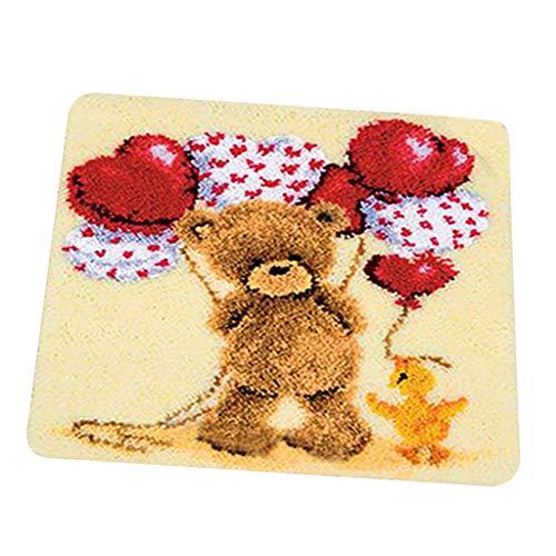 dailymall Latch Hook Kits Cute Bear Pattern,45 x 45cm Animal Style Latch Rug Hooking Kit Crocheting Carpet Rug Yarn Sofa Cushion Mat for Kids Adults Handmade Carpet Latch Rug Hook Kits