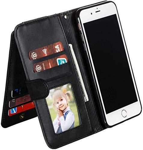 Ysimee Handyhülle kompatibel mit Samsung Galaxy A8 2018 mit 9 Kartenslots, Stylish Case Schutzhülle Klappbar Stoßfest Kratzfest Hülle Flip Handy Tache mit Standfunktion und Magnetverschluß, Schwarz