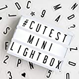 My Cinema Lightbox - The Mini Cinema Lightbox, LED Changeable Quote Sign To Create Personalized Messages, with 100 Letters, Numbers, & Symbols, USB or Battery Powered, A5 White