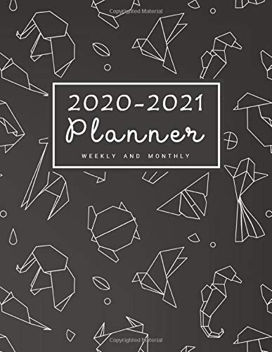 2020-2021 Weekly & Monthly Planner: 2 Year Calendar Schedule, Squares Quad Ruled, Dot Notes, Monthly Goals Setting, Action Plan, No Holiday Origami Black (January 2020 through December 2021)