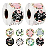 1000Pcs Thank You Stickers Roll, 1.5 Inch Self-Adhesive Floral Round Sticker for Small Business Packaging, Handmade Goods, Envelope Seals, Party Gift Wrap Bag Labels for Wedding, Birthday (8 Floral)