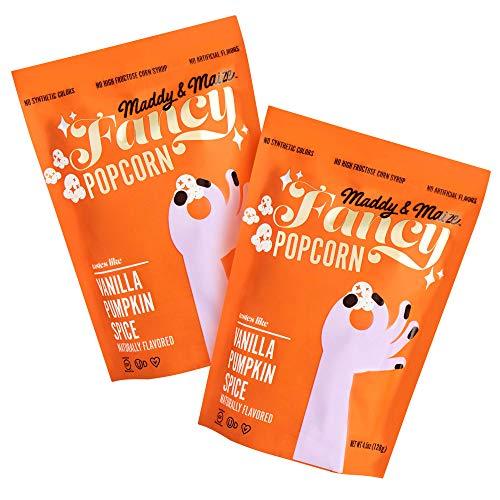 Maddy & Maize Gourmet Popcorn, Vanilla Pumpkin Spice ( 2 pack, 4.5 oz bag) - Non-GMO, Gluten Free