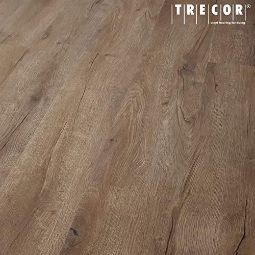 TRECOR Klick Vinylboden RIGID-SPC Designboden Massivdiele 5,0 mm stark mit 0,55 mm Nutzschicht - Sie kaufen 1 m² - WASSERFEST - Bitte gewünschte Menge eintragen (Vinylboden, Prestige Eiche Dunkel)