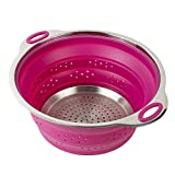 Collapsible Silicone Colander/Strainer / Steamer with Stainless Steel Base in Raspberry Fuchsia Pink Color - 3 Quart - by Finn Market