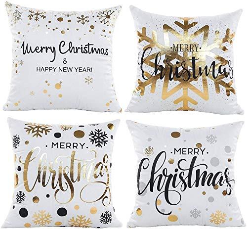 HIQE-FL 4 Stück Weihnachten Dekokissen,Weihnachtsdekoration Kissenbezug,Elk Weihnachtsmann Muster Sofa Wohnkultur