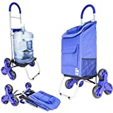 dbest products Stair Climber Trolley Dolly 2, Blue Shopping Grocery Foldable Cart Condo Apartment