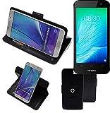 K-S-Trade® Handy Hülle Für TP-LINK Neffos Y50 Flipcase Smartphone Cover Handy Schutz Bookstyle Schwarz (1x)