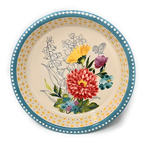 The Pioneer Woman Blooming Bouquet Pie Dish-Stoneware 9 Inch Pie Pan For Everyday And Holiday Baking