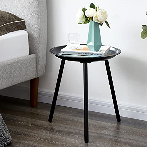 EKNITEY Round End Table, Metal Side Table, Small Coffee Table, Nightstand for Living Room, Bedroom,...