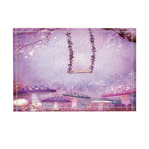 LRSJD paarse sprookjesdecoratie wereld paddenstoelbloemen schommel in de tuin kinderen badmat antislip deurmat ingang deurbinnendeken badkamer kinderen 15,7 x 23,6 in