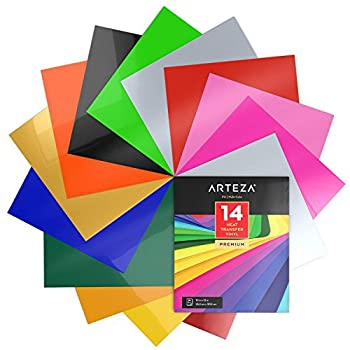Arteza HTV Vinyl Bundle 14 Multi-Color Iron On Heat Transfer Sheets 10x12 Inches Flexible & Easy to Weed Use with Any Craft Cutting Machine Boxed