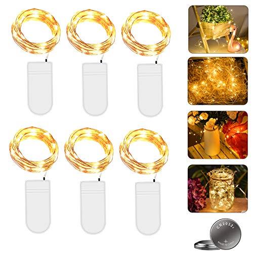 Micro LED Lichterkette mit Batterie Betrieb Auf 6 Stück 2 Meter 20er IP65 Wasserdicht Drahtlichterkette für Party, Garten, Weihnachten, Halloween, Hochzeit, Beleuchtung Deko