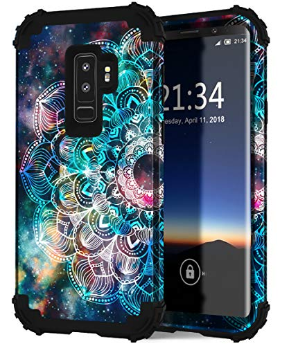 Hocase for Galaxy S9 Plus Case, Heavy Duty Shockproof Protection Silicone Rubber+Hard Plastic Hybrid Dual Layer Protective Phone Case for Samsung Galaxy S9 Plus (SM-G965U) 2018 - Mandala in Galaxy
