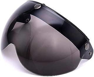 Pilot-Style Universal 3 Snap-Button Visor for Open Face Motorcycle Helmet Wind Shield Flip Up Down by MotorFansClub(Dark Smoke)