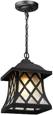 Wylolik Araña, American Country Village antiguo del metal de la jaula al aire libre Luz pendiente Montaje ajustable en altura de techo retro Industrial Pérgola Jardín Colgante pórtico de la lámpara de: