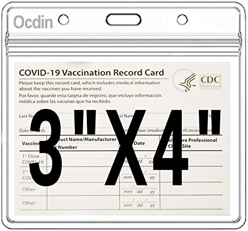 CDC Vaccination Card Protector 4 X 3 Inches Immunization Record Vaccine Cards Holder Clear Vinyl Plastic Sleeve with Waterproof Type Resealable Zip (3 Pack)