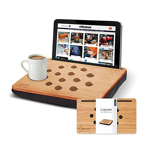 Mikamax - Mini Lapzer Laptop – Soporte Portatil Bambú – Soporte Tablet Compacto – 100% Bambú - 25 x 35 x 6 – con Cojín para el Regazo - Agujeros para la Ventilacion - Mesa Portatil Compacto