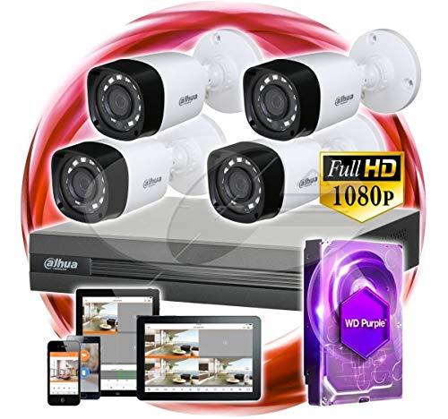 Dahua-Kit de videovigilancia 4 Camaras Full Hd Exterior con Disco de 1 Tb Purple Cctv Malaga Hogar o negocio Facil instalacion