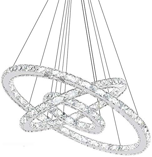 ROXTAK Ring Kristall Hängelampe, Kristall Kronleuchter, Deckenlampe, Deckenleuchte, Pendelleuchte, Kreative Kronleuchter, Kaltes Lüster 6000-6500 K (72W/Drei Ringe Φ: 20cm+40cm+60cm)