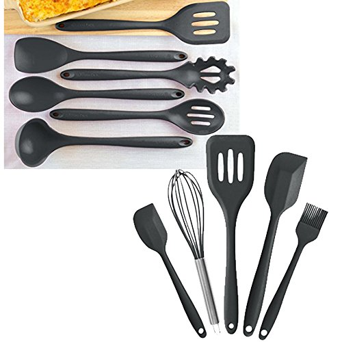 "StarPack Value Bundle 0026-6-Pc XL Silicone Kitchen Utensils (13.5"") and 5-Pc Silicone Kitchen Utensils (10.6"") - Gray Black"