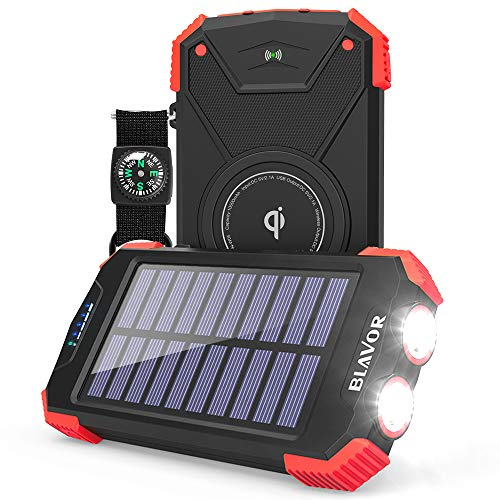 Solar Power Bank, Qi Portable Charger 10,000mAh External Battery Pack Type C Input Port Dual Flashlight, Compass, Solar...