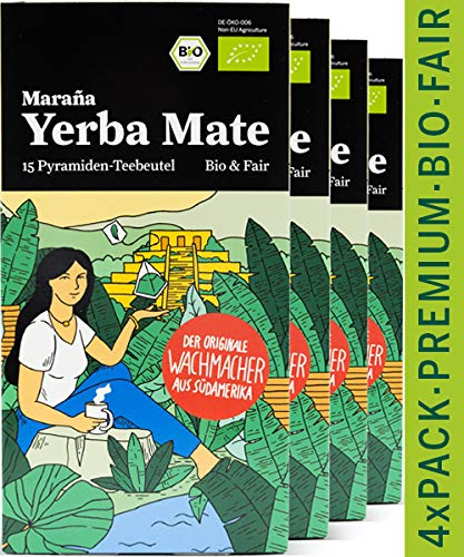 Maraña® Yerba Mate Teebeutel Bio Grün ● 4x75g Premium Mate Tee Beutel ● 60 Pyramiden-Teebeutel ● Matetee ● Grüner Tee
