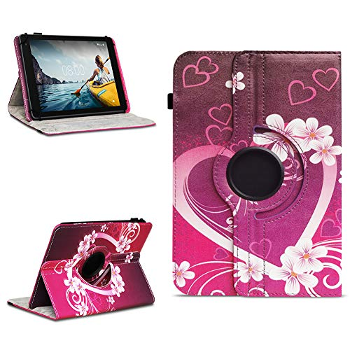 NAUC Tablettasche kompatibel für Medion Lifetab E10714 E10430 E10414 E10604 E10412 E10511 E10513 Tablet Tasche Hülle Universal Schutzhülle Drehbar, Farben:Motiv 2
