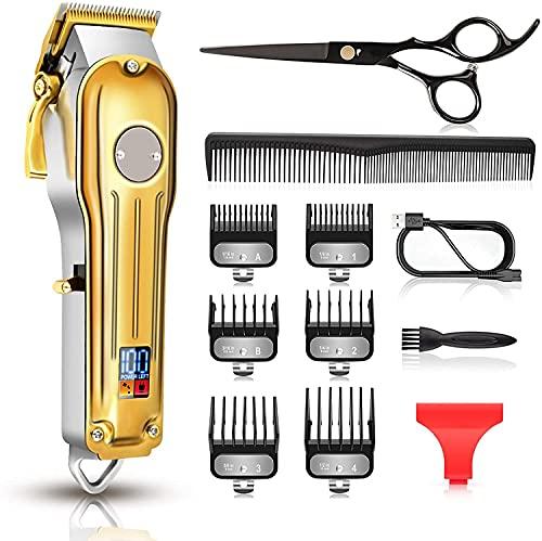 Maquina Cortar Pelo Profesional, CIICII Cortapelos Hombre & Recortadora de Barba (12Pcs/ Inalámbrico/Recargable/USB/LCD Pantalla) Recortador Pelo Barba Kit para Familia, Peluqueros