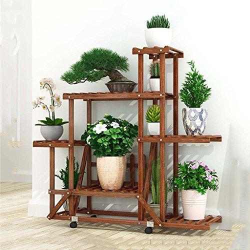 Mehrstöckiges Steh-Blumenbeet-Balkon Massivholz-Blumengestelle Mehrzweck-Stände Indoor und Outdoor-karbonisiertes Blumenregal, 360-Grad-Drehung