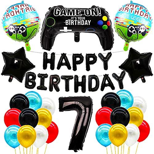 Decoraciones de cumpleaños para niños,Videojuegos Cartoon Party Set,27 Piezas Videojuegos Infantil de Videojuegos Team Cartoon Anime Theme Artículos para Fiesta de Cumpleaños,Globos de 7er cumpleaños