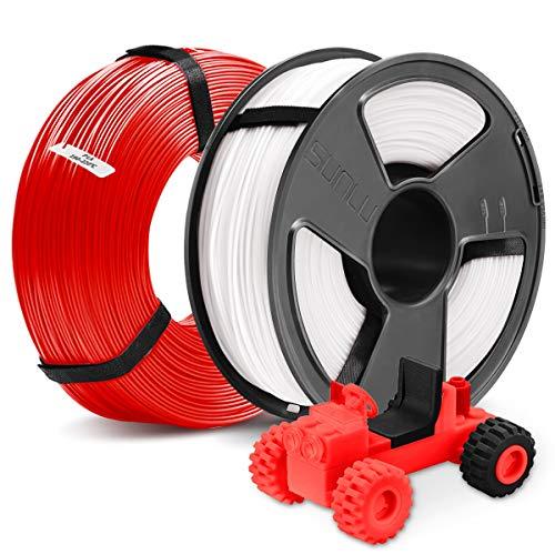 3D Printer PLA Filament 1.75,SUNLU Black PLA 1.75mm of MasterSpool,Fit FDM 3D Printer,1KG Spool,Pack of 2, Dimensional Accuracy +/- 0.02 mm,PLA White+Red