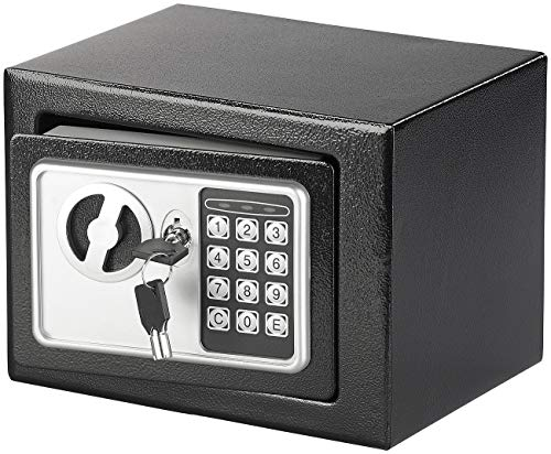 Xcase Mini Tresor: Stahlsafe mit digitalem Code-Schloss und 2 Tresor-Schlüsseln, 5 Liter (Tresor mit Zahlen)