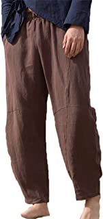 Mens Casual Pants Cotton Drawstring Loose Fit Elastic Waist Beach Trousers with Pockets