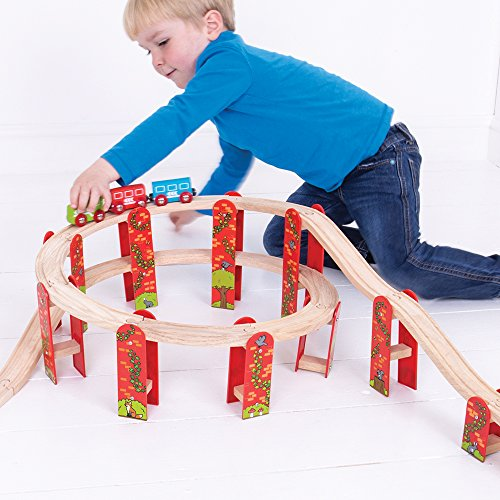 Bigjigs Rail Wooden High Level Track Expansion Pack - Other Major Rail Brands are Compatible