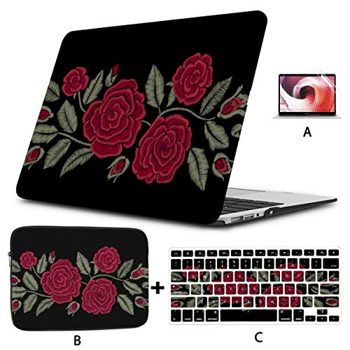 Mac Computer Case Embroidered Flowers Chic Red Roses Fashion MacBook Hard Case Hard Shell Mac Air 11'/13' Pro 13'/15'/16' with Notebook Sleeve Bag for MacBook 2008-2020 Version