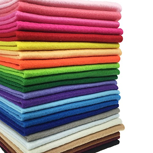 24pcs Thick 1.4mm Soft Felt Fabric Sheet Assorted Color Felt Pack DIY Craft Sewing Squares Nonwoven Patchwork (2020cm)