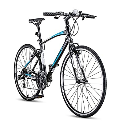 Adult Mountain Bike,21-Speed Road Bicycle,700C Lightweight Aluminum Frame Road Bike for Men and Women,Black and Blue