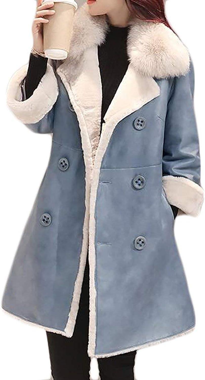 JWK Womens Double Breasted Fur Collar Warm Thick Wool Blend Parka Outwear