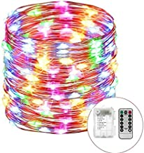 Outdoor String Lights 8 Modes 33ft 100LED Copper Wire Fairy Starry String Lights Battery Powered with Remote Control for Indoor Christmas Waterproof Lighting (Multicolor)