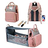 3 In 1 Diaper Bag with USB Charging Port Waterproof Backpack Travel Bassinet with Shading Cloth Baby Changing Station Portable Crib(Pink)