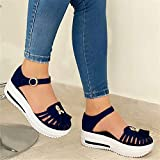 Riyueyi Sandals Women Summer Comfortable Wedges Sandals Close-Toe Walking Flat Sandals Hook and Loop Athletic Sandals for Women,Blue,41