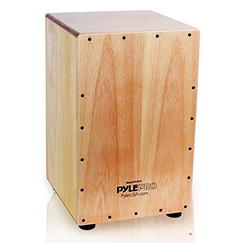 Pyle String Cajon - Wooden Percussion Box, with Internal Guitar Strings, Full Size