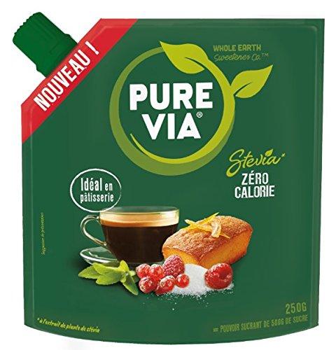 PURE VIA - Doypack Poudre Cristallisée - Stevia - Zéro Calorie - 250g