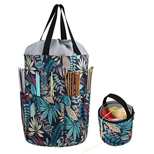 Coopay Bolsa de tejer, bolsa de almacenamiento de hilo,bolsas de punto de cruz y organizadores de punto, proyecto bordado punto,bolsas ganchillo para almacenamiento de lana y agujas, bosque lluvioso