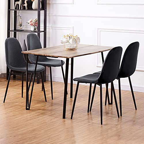 GOLDFAN Rectangle Wooden Dining Table and Chairs 110cm Set of 4 Velvet Padded Cushion Chairs Modern Dining Room Set, Grey